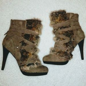 Elle NEW Strappy Faux Fur Spike Heel Boots